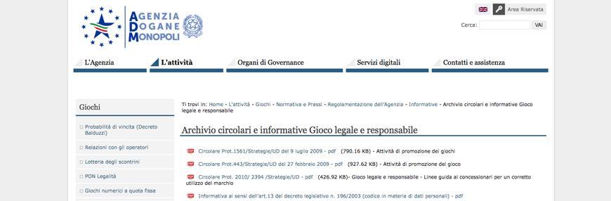 Archivio circolari e informative Gioco legale e responsabile