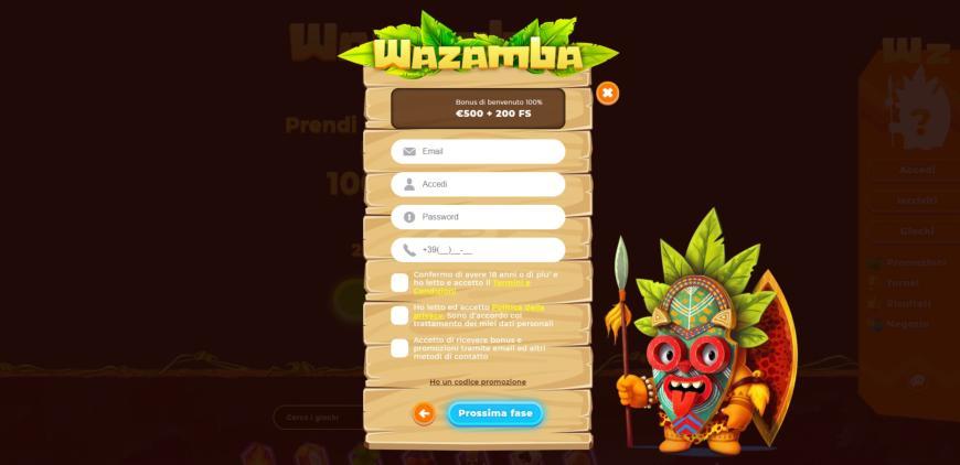 Registrarmi su Wazamba