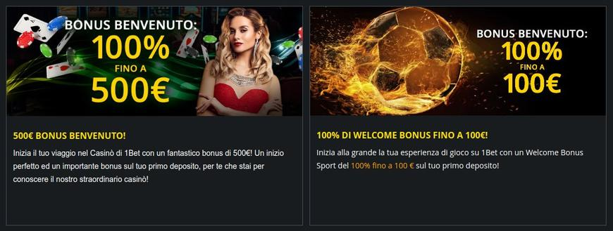 Bonus presenti su 1 Bet