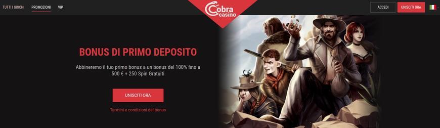 Bonus presenti su Cobra Casino