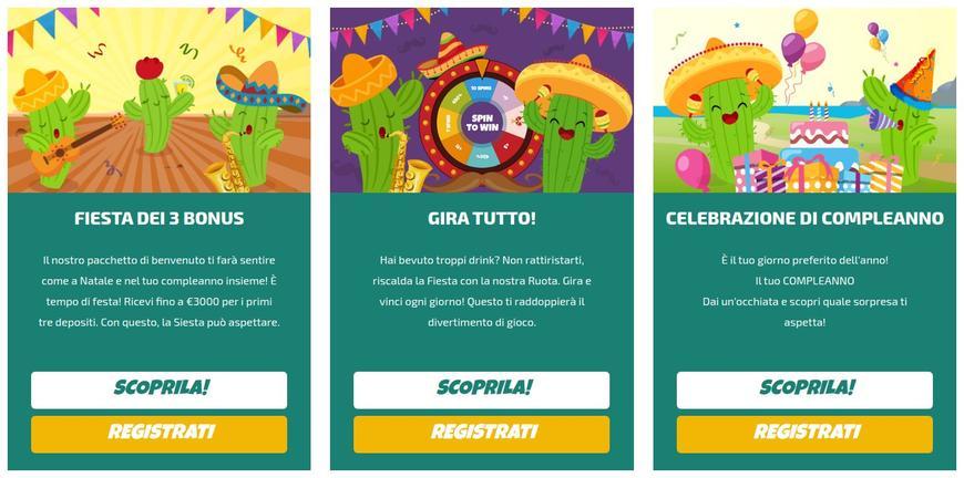 Bonus di La Fiesta Casino