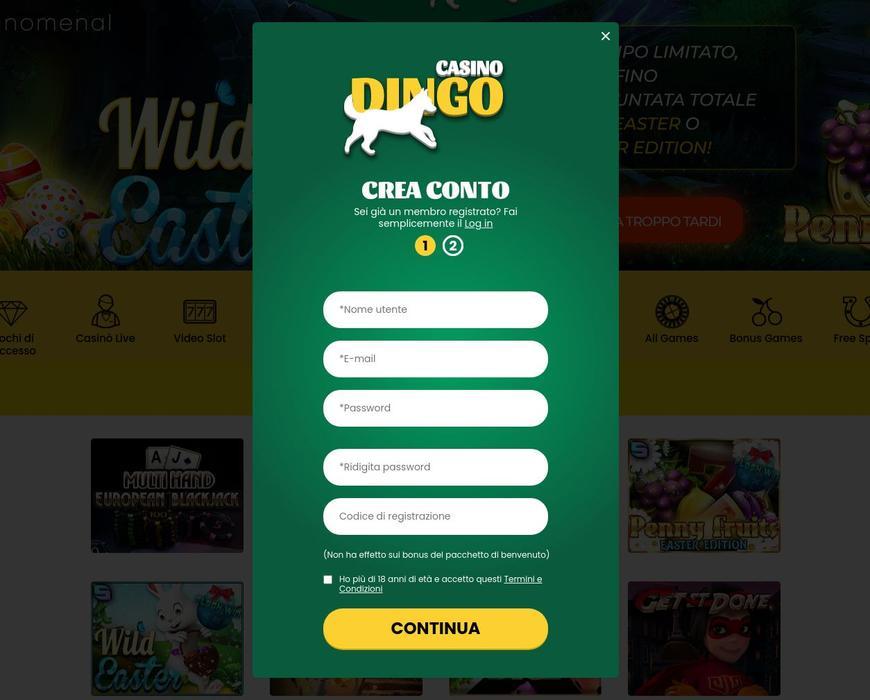 Come registrarsi su Dingo Casino