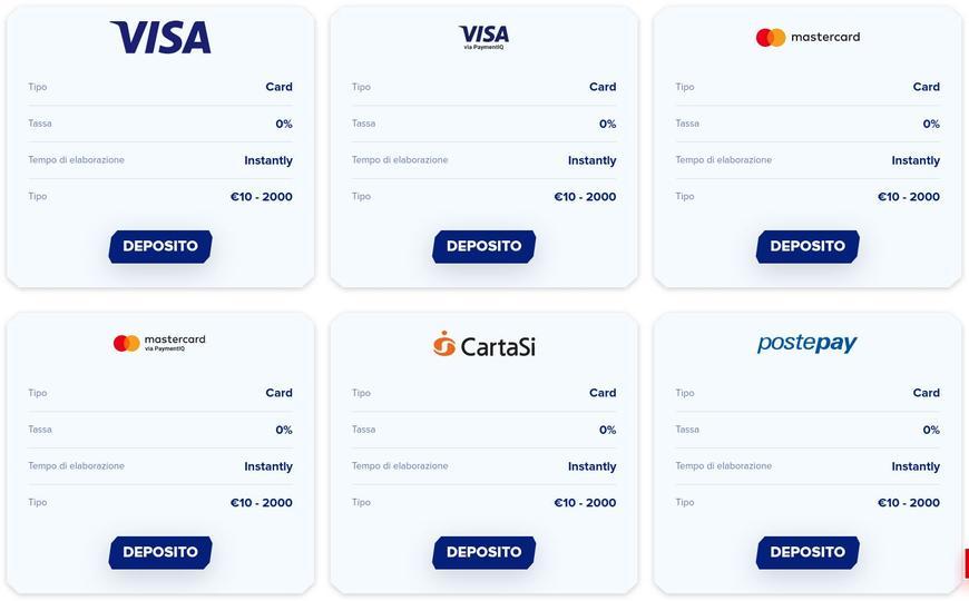 I metodi di pagamento su Sportaza